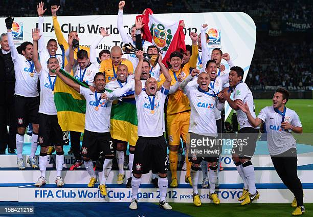 Corinthians celebrate victory after the FIFA Club World Cup Final Match between Corinthians and Chelsea at International Stadium Yokohama on December...