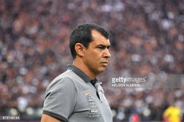 Corinthians' coach Fabio Carille is seen during the Brazilian Championship football match against Atletico Mineiro at the Arena Corinthians stadium...