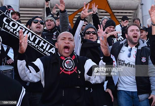 Corinthians fans make themselves heard prior to the FIFA Club World Cup Final Match between Corinthians and Chelsea at International Stadium Yokohama...