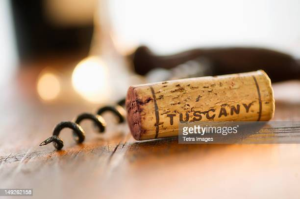 cork and corkscrew - wine cork stock photos and pictures