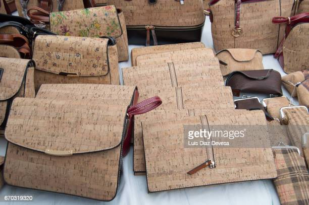 cork bags - cork material stock photos and pictures