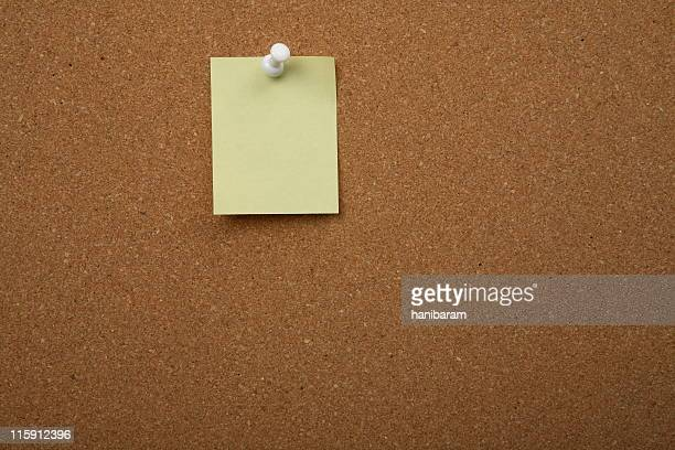 cork board with postit - bollard stock photos and pictures