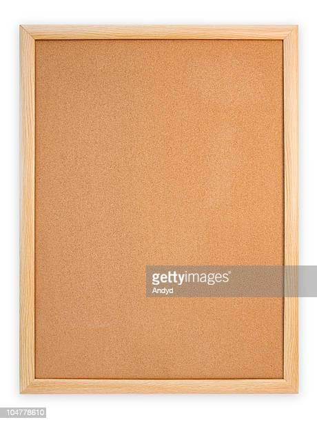 Cork bulletin board on a white background