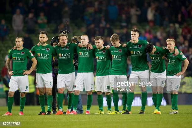 Cork City players pictured during panalty shootouts during the Irish Daily Mail FAI Senior Cup Final between Dundalk FC and Cork City at Aviva...