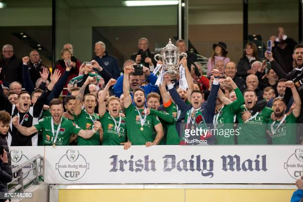 Cork City team celebrate victoty with a trophy during the Irish Daily Mail FAI Senior Cup Final between Dundalk FC and Cork City at Aviva Stadium in...
