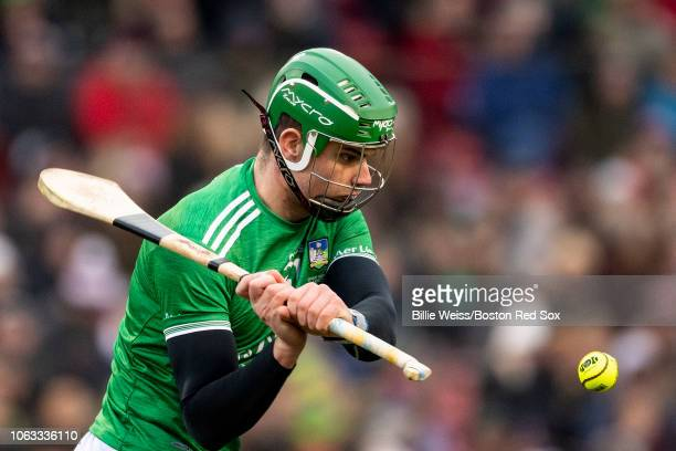 Cork faces Limerick in a match during the Fenway Hurling Classic on November 18 2018 at Fenway Park in Boston Massachusetts