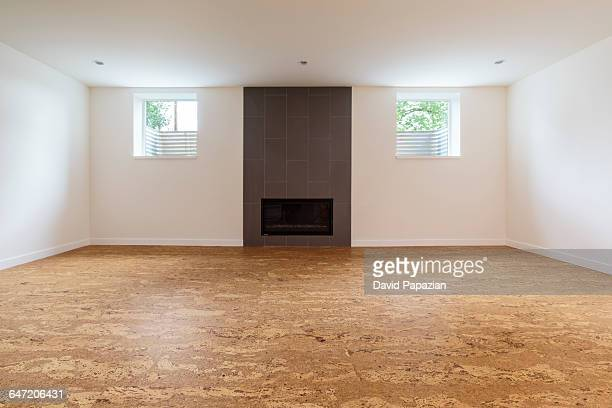 cork flooring in unfurnished new home - cork material stock photos and pictures