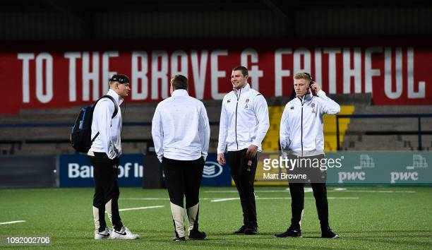 Cork Ireland 1 February 2019 England players from left Aaron Hinkley Jack Musk Tom Willis and Ollie Fox on the pitch before the U20 Six Nations Rugby...