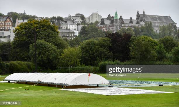 Cork , Ireland - 1 September 2020; A general view of rain covers on the pitch ahead of the 2020 Test Triangle Inter-Provincial Series match between...