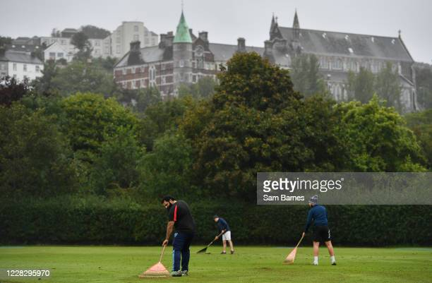 Cork , Ireland - 1 September 2020; Groundstaff rake the pitch ahead of the 2020 Test Triangle Inter-Provincial Series match between Munster Reds and...