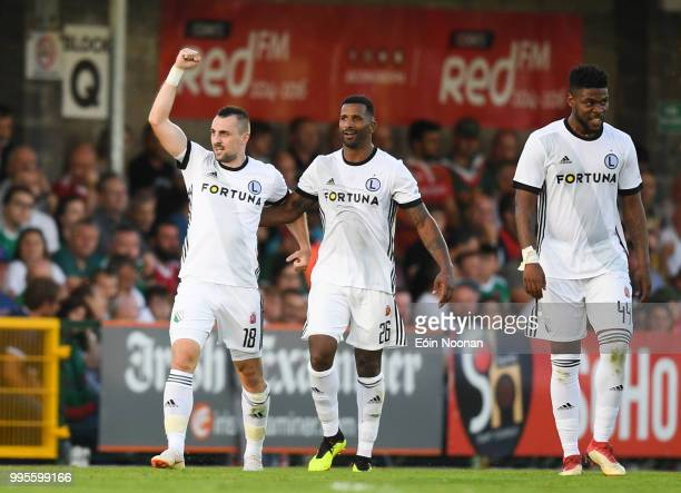 Cork Ireland 10 July 2018 Michal Kucharczyk left of Legia Warsaw celebrates with teammate Cafu after scoring his side's first goal during the UEFA...