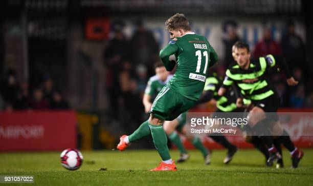 Cork Ireland 12 March 2018 Kieran Sadlier of Cork City shoots to score his side's first goal from a penalty during the SSE Airtricity League Premier...