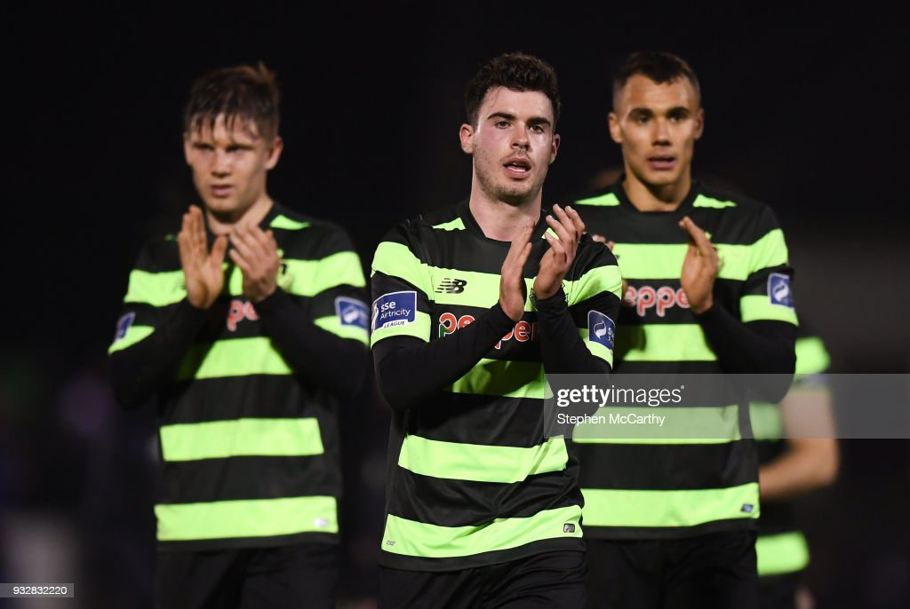 Cork , Ireland - 12 March 2018; Shamrock Rovers players, from left, Luke Byrne, Joel Coustrain and Graham Burke during the SSE Airtricity League Premier Division match between Cork City and Shamrock Rovers at Turner's Cross in Cork.