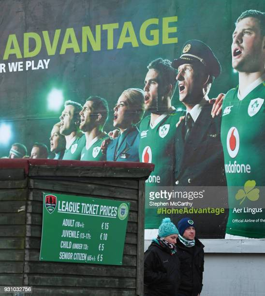 Cork Ireland 12 March 2018 Supporters make their way to the game past rugby advertising prior to the SSE Airtricity League Premier Division match...