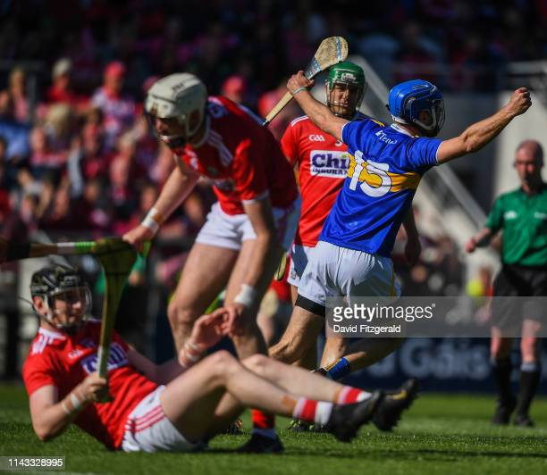 Cork , Ireland - 12 May 2019; John McGrath of Tipperary celebrates after scoring his side's second goal during the Munster GAA Hurling Senior...