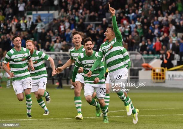 Cork Ireland 13 July 2017 Graham Burke right of Shamrock Rovers celebrates with teammates after scoring his side's first goal during the UEFA Europa...