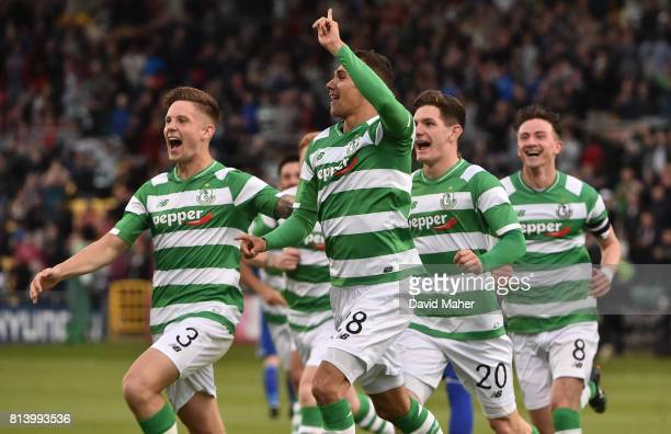Cork Ireland 13 July 2017 Graham Burke second from left of Shamrock Rovers celebrates after scoring his side's first goal with teammates Luke Byrne...