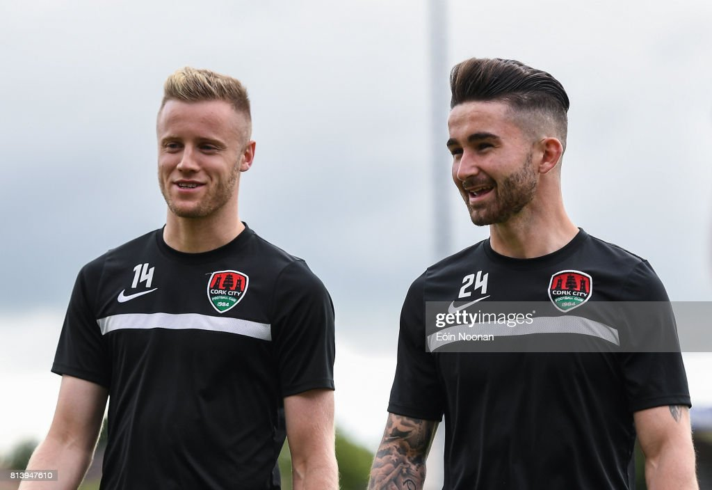 Cork , Ireland - 13 July 2017; Kevin O'Connor, left, and Sean Maguire of Cork City ahead of the UEFA Europa League Second Qualifying Round First Leg match between Cork City and AEK Larnaca at Turner's Cross in Cork.