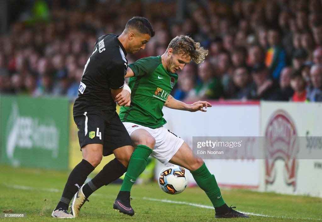 Cork , Ireland - 13 July 2017; Richie Sadlier of Cork City in action against Joan Truyols of AEK Larnaca during the UEFA Europa League Second Qualifying Round First Leg match between Cork City and AEK Larnaca at Turner's Cross in Cork.