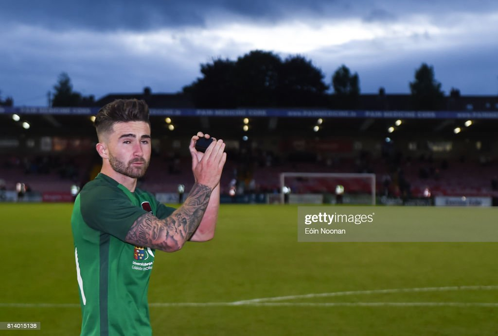 Cork , Ireland - 13 July 2017; Sean Maguire of Cork City acknowledges the supporters after his last home game for the club after the UEFA Europa League Second Qualifying Round First Leg match between Cork City and AEK Larnaca at Turner's Cross in Cork.