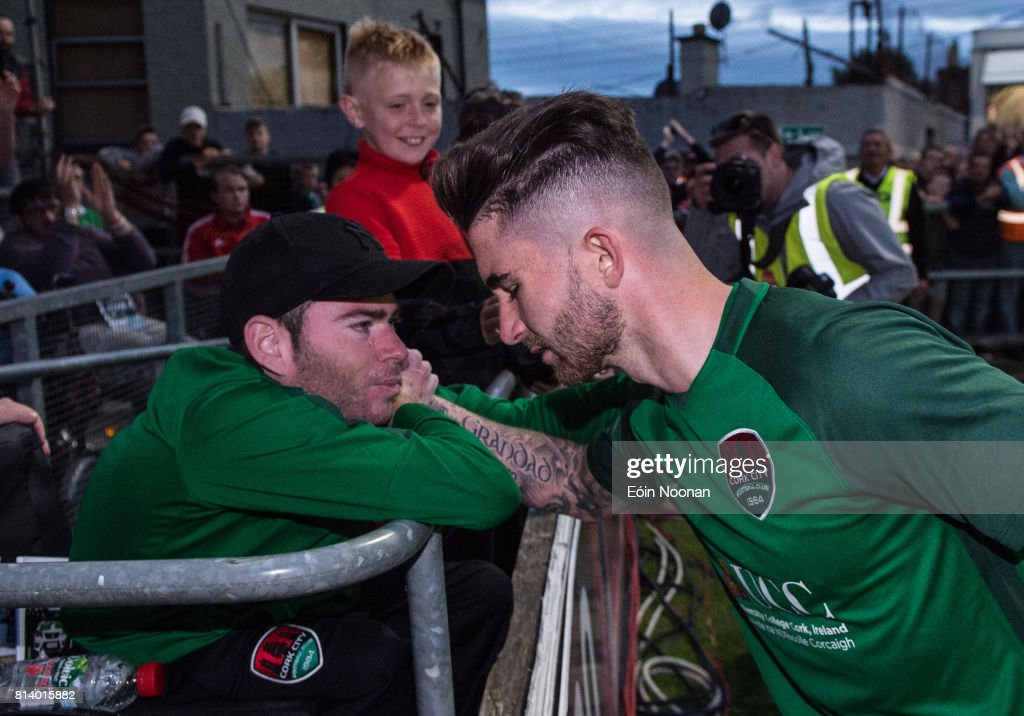 Cork , Ireland - 13 July 2017; Sean Maguire of Cork City with long time Cork City supporter Gary McSweeney after the UEFA Europa League Second Qualifying Round First Leg match between Cork City and AEK Larnaca at Turner's Cross in Cork.