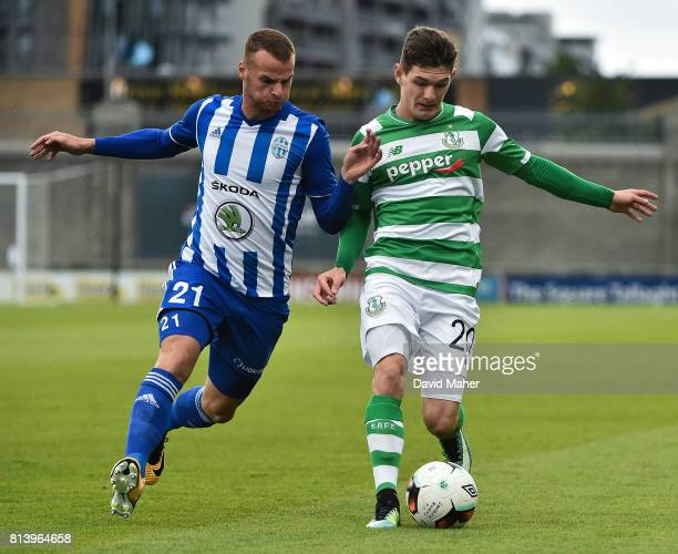 Cork Ireland 13 July 2017 Trevor Clarke of Shamrock Rovers in action against Lukas Pauschek of Mlada Boleslav during the UEFA Europa League Second...