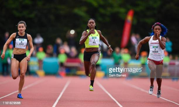 Cork Ireland 14 August 2019 Candance Hill of USA centre on her way to winning the Women's 100m event sponsored by Centra ahead of Phil Healy of...