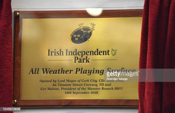 Cork Ireland 14 September 2018 A plaque commemmorating the official opening of the articifial pitch prior to the Guinness PRO14 Round 3 match between...