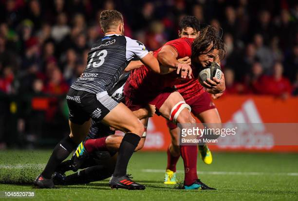 Cork Ireland 14 September 2018 Arno Botha of Munster is tackled by Joe Thomas of Ospreys during the Guinness PRO14 Round 3 match between Munster and...