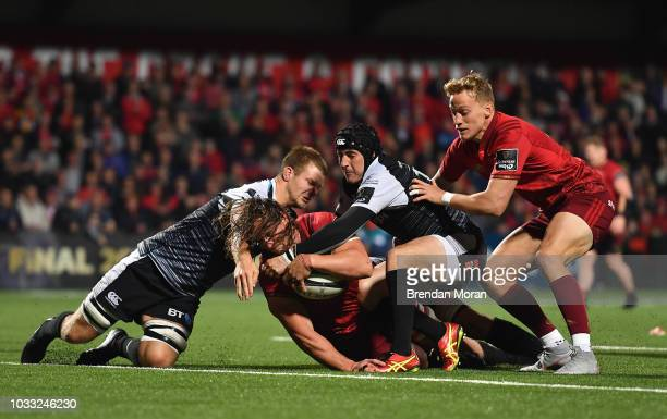 Cork Ireland 14 September 2018 Arno Botha of Munster score his side's 6th try during the Guinness PRO14 Round 3 match between Munster and Ospreys at...