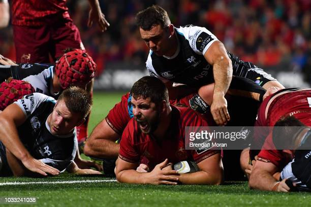 Cork Ireland 14 September 2018 James Cronin of Munster celebrates scoring his side's fourth try during the Guinness PRO14 Round 3 match between...