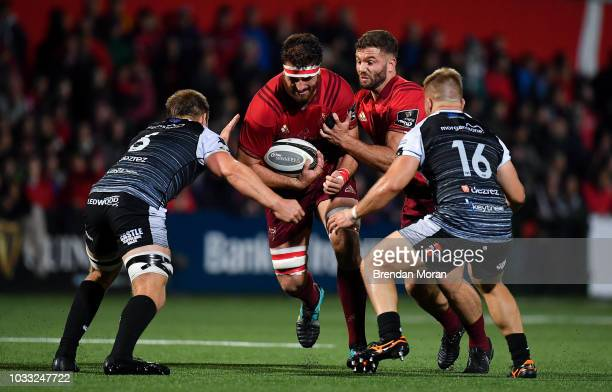 Cork Ireland 14 September 2018 Jean Kleyn of Munster in action against Olly Cracknell and Ifan Phillips of Ospreys during the Guinness PRO14 Round 3...