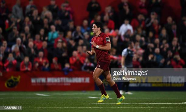 Cork Ireland 14 September 2018 Joey Carbery of Munster applauds supporters as he leaves the field after being substituted during the Guinness PRO14...