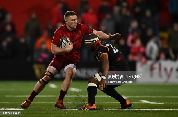 Cork Ireland 15 February 2019 Andrew Conway of Munster is tackled by Andisa Ntsila of Southern Kings during the Guinness PRO14 Round 15 match between...