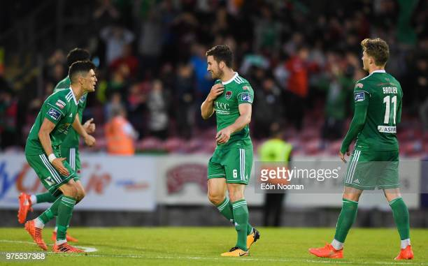 Cork Ireland 15 June 2018 Gearóid Morrissey of Cork City celebrates with teammate Graham Cummins after scoring his side's first goal during the SSE...