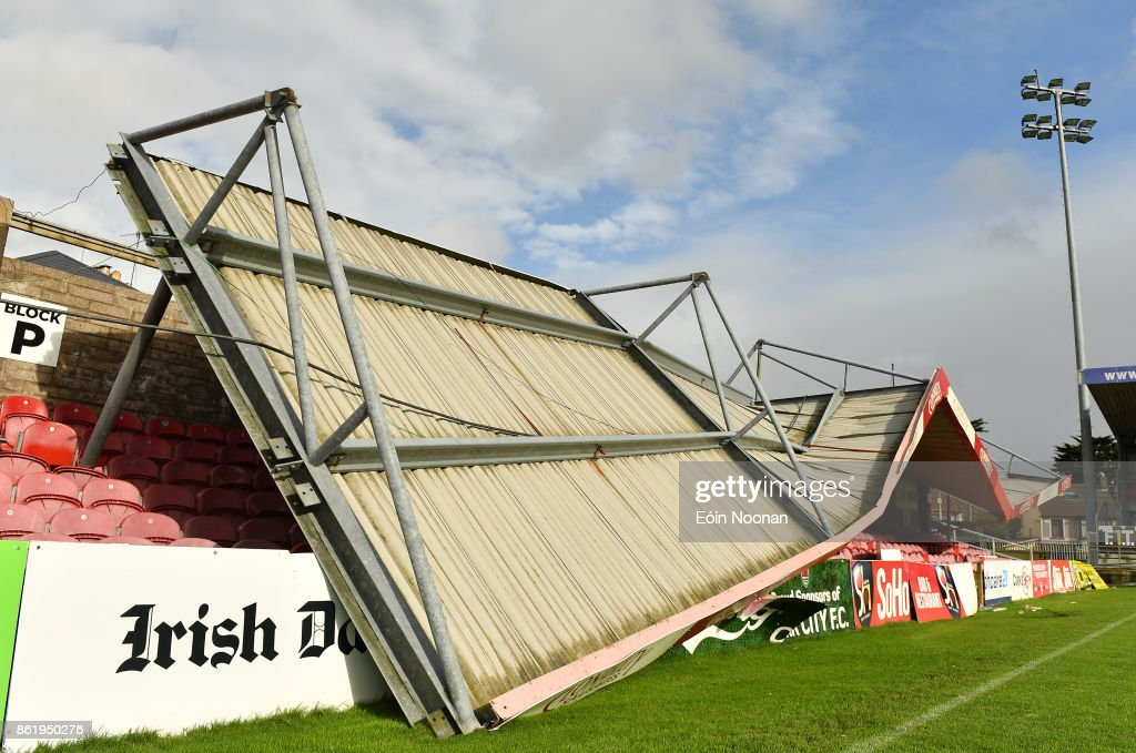 Cork , Ireland - 16 October 2017; A view of the damage to the Derrynane Stand at Turners Cross Stadium, home of Cork City Football Club, due to Storm Ophelia.