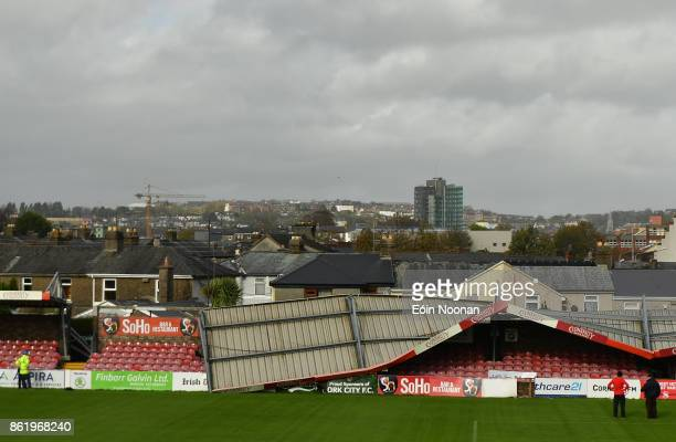 Cork Ireland 16 October 2017 A view of the damage to the Derrynane Stand at Turners Cross Stadium home of Cork City Football Club due to Storm Ophelia