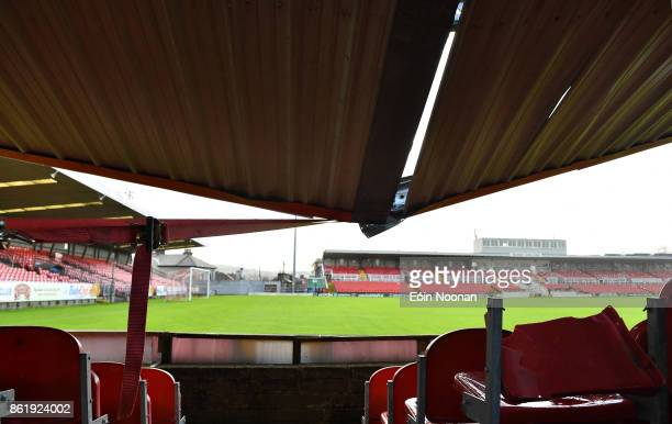Cork Ireland 16 October 2017 Damage to the Derrynane Stand at Turners Cross Stadium home of Cork City Football Club due to Storm Ophelia