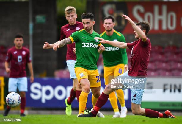 Cork Ireland 17 July 2018 Sean Maguire of Preston North End is tackled by Ben O'Riordan of Cobh Ramblers during the friendly match between Cobh...