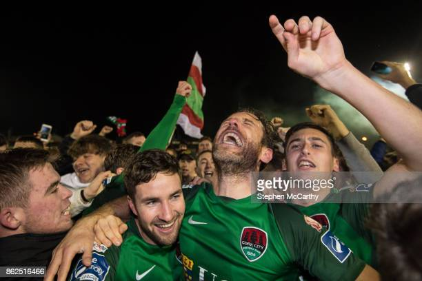 Cork Ireland 17 October 2017 Gearóid Morrissey left Alan Bennett and Connor Ellis of Cork City celebrate winning the the SSE Airtricity League...