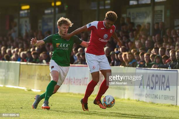 Cork Ireland 18 August 2017 Tobi AdebayoRowling of Sligo Rovers in action against Kieran Sadlier of Cork City during the SSE Airtricity League...