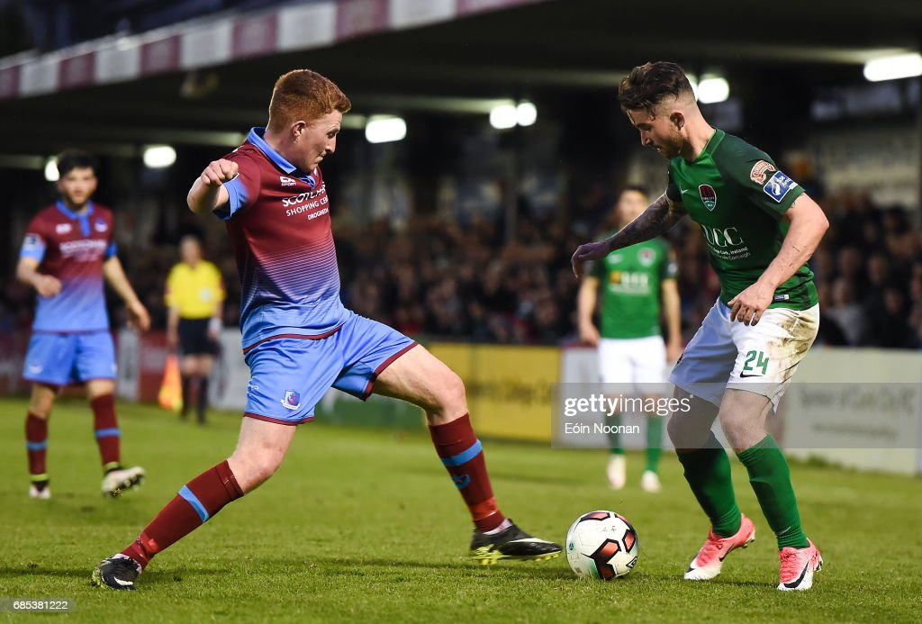 Cork , Ireland - 19 May 2017; Sean Maguire of Cork City in action against Stephen Dunne of Drogheda United during the SSE Airtricity League Premier Division game between Cork City and Drogheda United at Turners Cross in Cork.