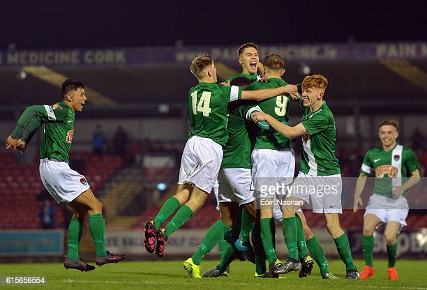 Cork , Ireland - 19 October 2016; Aaron Drinan of Cork City celebrates with teammates after scoring his sides first goal during the UEFA Youth League...