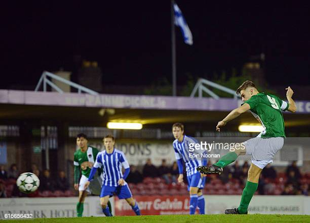 Cork , Ireland - 19 October 2016; Aaron Drinan of Cork City scoring his sides first goal during the UEFA Youth League match between Cork City and HJK...