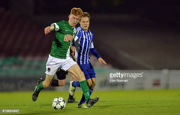 Cork , Ireland - 19 October 2016; Alec Byrne of Cork City in action against Lassi Lappalainen of HJK Helsinki during the UEFA Youth League match...