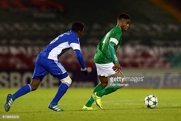 Cork , Ireland - 19 October 2016; Chiedoize Ogbene of Cork City in action against Obed Malolo of HJK Helsinki during the UEFA Youth League match...