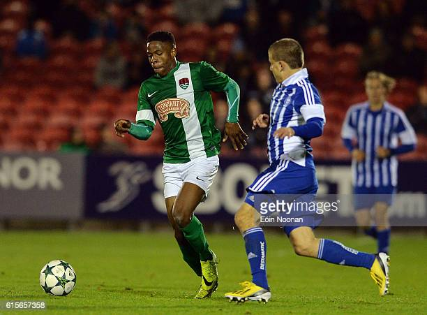 Cork , Ireland - 19 October 2016; Chiedozie Ogbene of Cork City in action against Joachim Böckerman of HJK Helsinki during the UEFA Youth League...