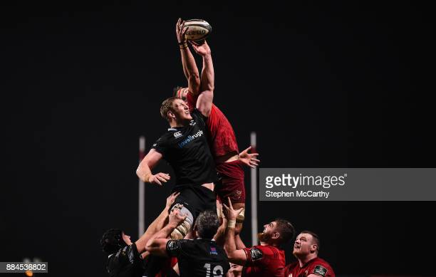 Cork Ireland 2 December 2017 Bradley Davies of Ospreys in action against Billy Holland of Munster during the Guinness PRO14 Round 10 match between...