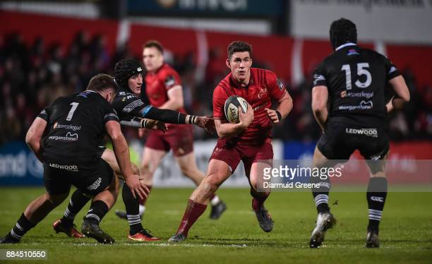 Cork Ireland 2 December 2017 Ian Keatley of Munster in action against Gareth Thomas Sam Davies and Dan Evans of Ospreys during the Guinness PRO14...