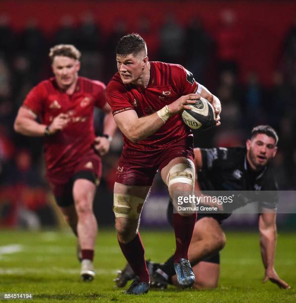 Cork Ireland 2 December 2017 Jack ODonoghue of Munster gets away from Gareth Thomas of Ospreys during the Guinness PRO14 Round 10 match between...